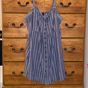 Plus size blue white stripped dress